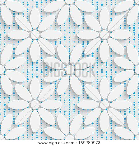 Seamless Beautiful Flower Pattern. Abstract Ornament Background. White Origami Wallpaper. Art Graphic Design