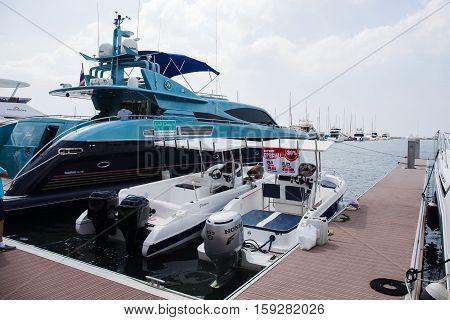 PATTAYA THAILAND - NOVEMBER 26 2016 :The Yacht moored and saled at dock on Ocean Marina Pattaya Boat Show in Pattaya Thailand