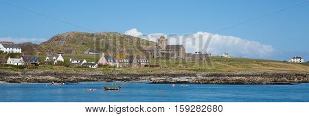Isle of Iona Scotland uk Inner Hebrides Scottish island off coast of Mull west Scotland a popular tourist destination known for the abbey panorama