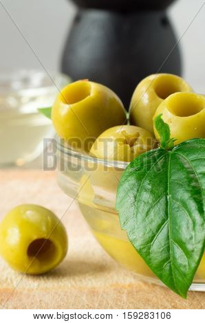 Green Marinated Olives Pitted Adorned With Green Leaves