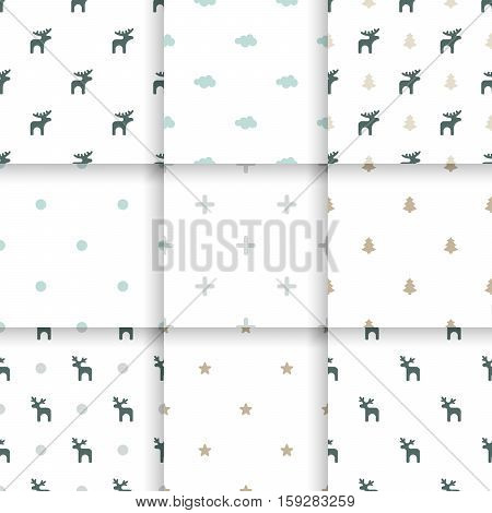 Set of Scandinavian trend seamless pattern. Minimalistic vector seamless pattern perfect for wallpaper, textil cotton print, bed linen, holiday package or wrapping paper.