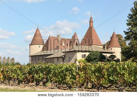 Castle of Corcelles with vineyards in Beaujolais, France