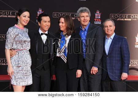 LOS ANGELES - DEC 1:  Cissy Wang, Donnie Yen, Kathleen Kennedy, Alan Horn, Alan Bergman at the Donnie Yen Hand And Footprint Ceremony at TCL Chinese Theater IMAX on December 1, 2016 in Los Angeles, CA