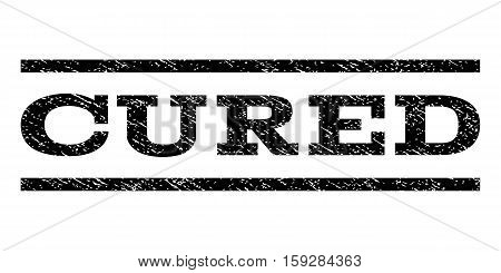 Cured watermark stamp. Text caption between horizontal parallel lines with grunge design style. Rubber seal black stamp with scratched texture. Vector ink imprint on a white background.