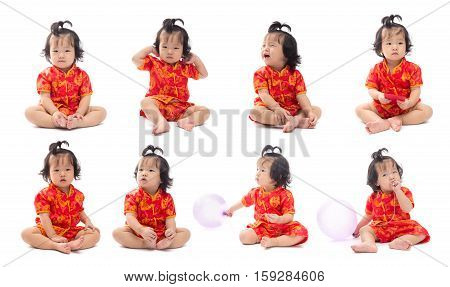 Set of cute Asian baby girl in traditional Chinese suit Isolated on white background Chinese New Year Concept facial expressions various characters