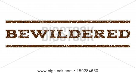 Bewildered watermark stamp. Text tag between horizontal parallel lines with grunge design style. Rubber seal brown stamp with scratched texture. Vector ink imprint on a white background.