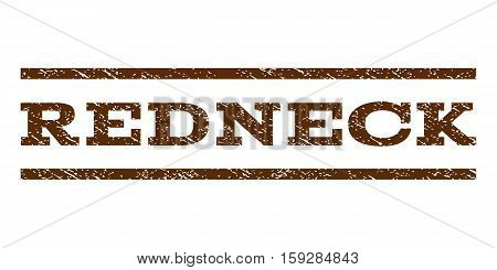 Redneck watermark stamp. Text tag between horizontal parallel lines with grunge design style. Rubber seal brown stamp with dust texture. Vector ink imprint on a white background.