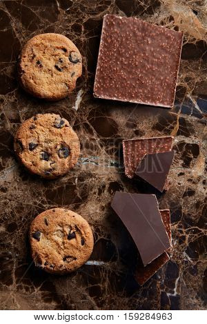 pieces of chocolate and cookies