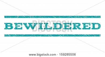 Bewildered watermark stamp. Text caption between horizontal parallel lines with grunge design style. Rubber seal cyan stamp with unclean texture. Vector ink imprint on a white background.