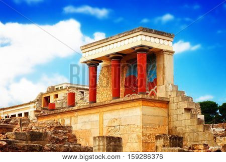 ancient ruines of famouse Knossos palace at Crete, Greece, retro toned