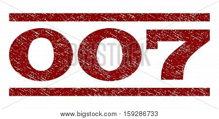 007 watermark stamp. Text caption between horizontal parallel lines with grunge design style. Rubber seal dark red stamp with scratched texture. Vector ink imprint on a white background.