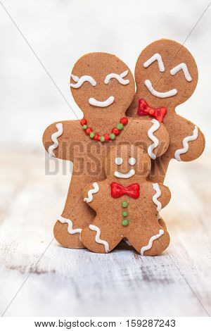 Christmas decoration with Happy Gingerbread man family