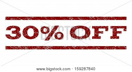 30 Percent Off watermark stamp. Text tag between horizontal parallel lines with grunge design style. Rubber seal dark red stamp with unclean texture. Vector ink imprint on a white background.