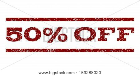 50 Percent Off watermark stamp. Text tag between horizontal parallel lines with grunge design style. Rubber seal dark red stamp with dirty texture. Vector ink imprint on a white background.
