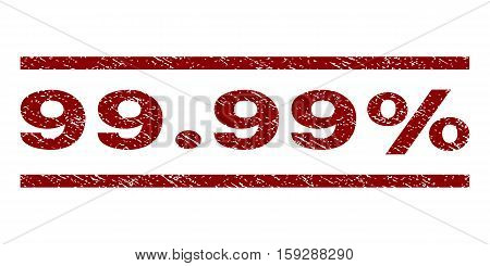 99.99 Percent watermark stamp. Text tag between horizontal parallel lines with grunge design style. Rubber seal dark red stamp with dust texture. Vector ink imprint on a white background.