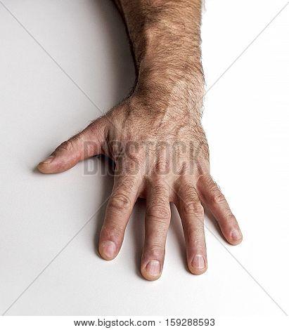 Men left hand on a white background