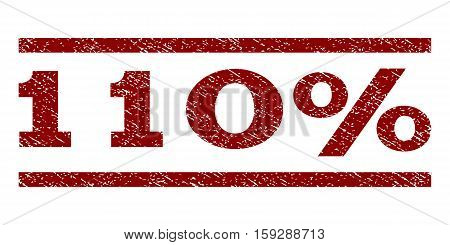 110 Percent watermark stamp. Text caption between horizontal parallel lines with grunge design style. Rubber seal dark red stamp with dirty texture. Vector ink imprint on a white background.