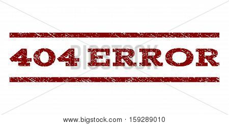 404 Error watermark stamp. Text tag between horizontal parallel lines with grunge design style. Rubber seal dark red stamp with dust texture. Vector ink imprint on a white background.