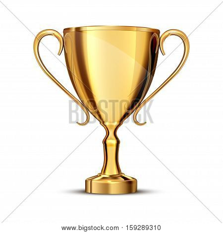 gold cup isolated on white background .
