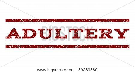 Adultery watermark stamp. Text caption between horizontal parallel lines with grunge design style. Rubber seal dark red stamp with dirty texture. Vector ink imprint on a white background.