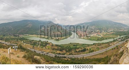 Panoramic View Of Place Of Confluence Of Mtkvari (kura) And Aragvi Rivers With The Mtskheta City On