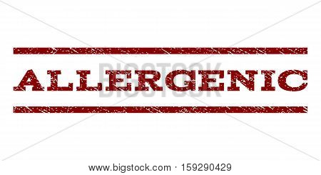 Allergenic watermark stamp. Text tag between horizontal parallel lines with grunge design style. Rubber seal dark red stamp with unclean texture. Vector ink imprint on a white background.