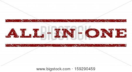 All-In-One watermark stamp. Text tag between horizontal parallel lines with grunge design style. Rubber seal dark red stamp with dirty texture. Vector ink imprint on a white background.
