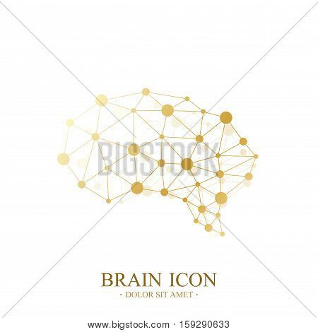 Premium Vector Template Brain Logo. Creative Concept Design Brain Icon. Medical Design Golden Brain Logo
