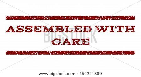 Assembled With Care watermark stamp. Text caption between horizontal parallel lines with grunge design style. Rubber seal dark red stamp with unclean texture. Vector ink imprint on a white background.