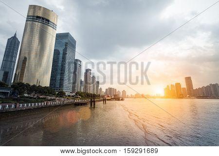 shanghai at dusk modern buildings with huangpu river