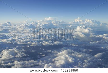 Beautiful Messy Cloud viewed from Airplane windows