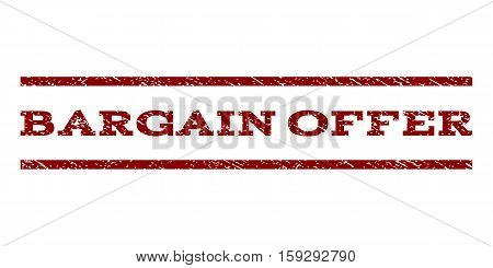 Bargain Offer watermark stamp. Text tag between horizontal parallel lines with grunge design style. Rubber seal dark red stamp with dust texture. Vector ink imprint on a white background.