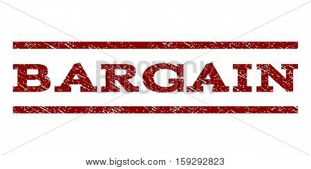 Bargain watermark stamp. Text caption between horizontal parallel lines with grunge design style. Rubber seal dark red stamp with scratched texture. Vector ink imprint on a white background.