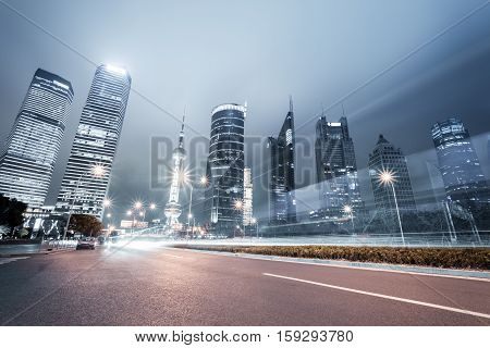 night view of shanghai century avenue and lujiazui financial and trade zone