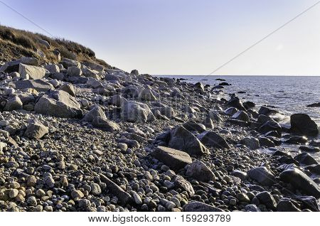 Shoreline on Gooseberry Neck juts into Buzzards Bay