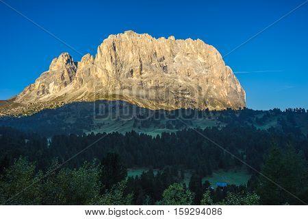 Sassolungo Or Langkofel Mountain Group At Sunrise, Dolomites, Trentino, Alto Adige, Italy