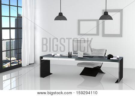 3D Rendering : Illustration Of Modern Interior White Office Of Creative Designer Desktop With Pc Com