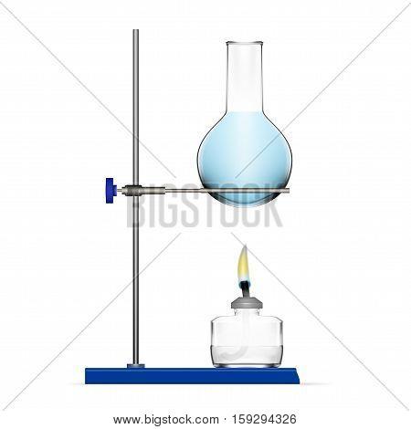 Realistic Chemical Laboratory Equipment. Glass Flask, Beaker, Spirit Lamp