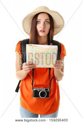 Young beautiful woman with map on white background