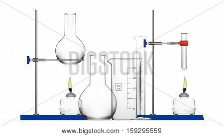 Realistic Chemical Laboratory Equipment Set. Glass Flasks, Beakers, Spirit Lamps