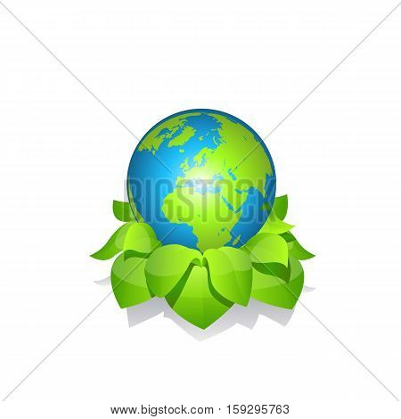 Green earth with leaves vector icon on white background.