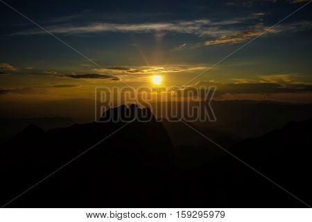 Sunset In The Peak Mountains Nature Landscape