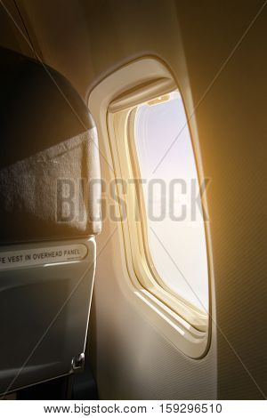 Airplane Window. Inside Airplane