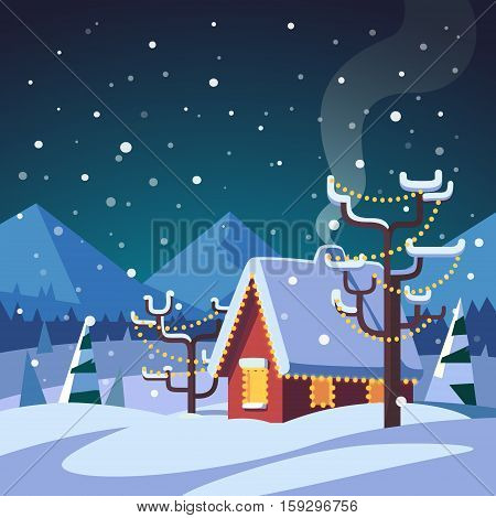 Christmas decorated country house in mountains foothills. Snowy winter. Flat style isolated vector illustration.