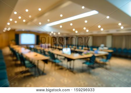Empty Meeting Or Conference Room Blurred For Background.