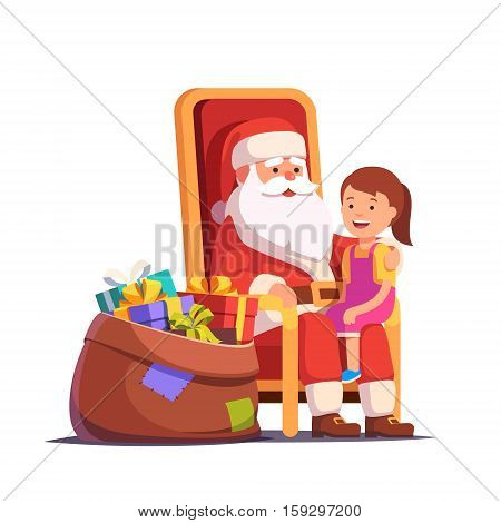 Santa Claus holding little smiling girl on his lap. Flat style vector illustration isolated on white background.