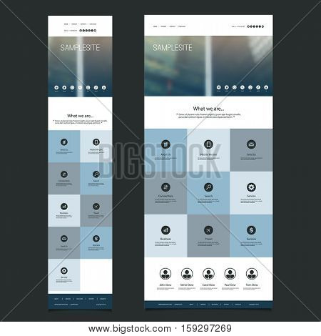 Responsive One Page Website Template with Blurred Background - Skyscrapers Pattern Header Design - Desktop and Mobile Version