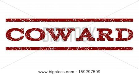Coward watermark stamp. Text tag between horizontal parallel lines with grunge design style. Rubber seal dark red stamp with dirty texture. Vector ink imprint on a white background.