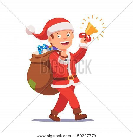 Little boy kid dressed like Santa Claus carrying sack full of gifts walking and ringing his christmas bell. Flat style vector illustration isolated on white background.