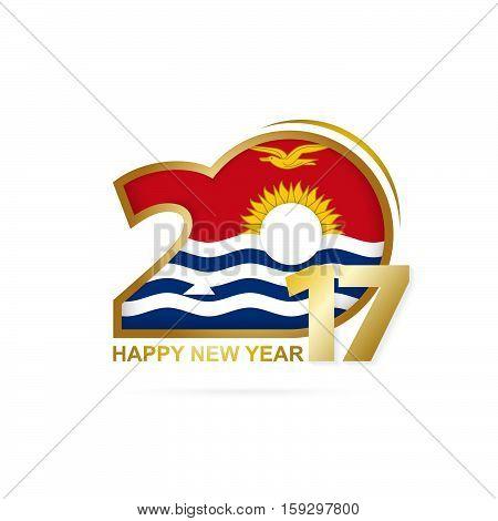 Year 2017 With Kiribati Flag Pattern. Happy New Year Design On White Background.